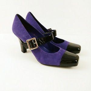 Franco Sarto Yves Mary Jane Heels Purple & Black